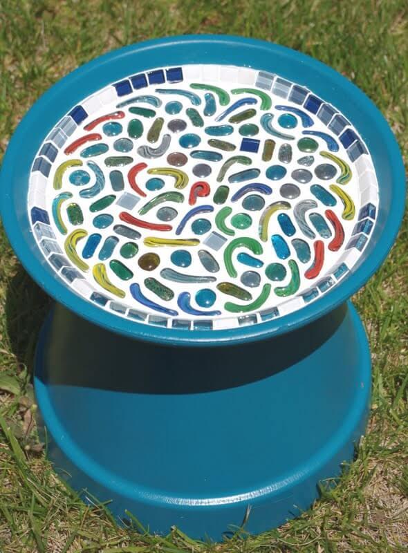 Glass Mosaic Bird Bath Tutorial and Gift Idea