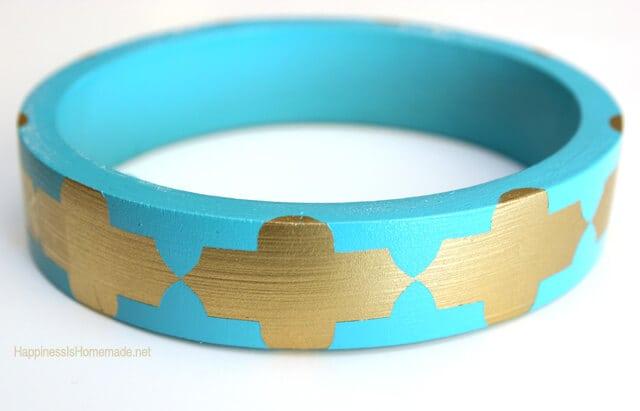 Stenciled Wood Bracelet
