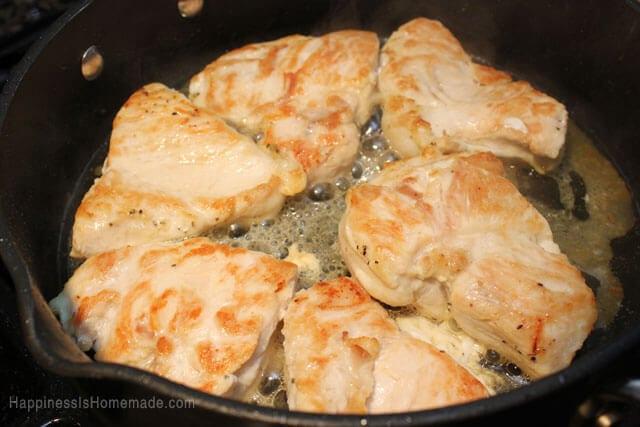 Brown Chicken in Skillet