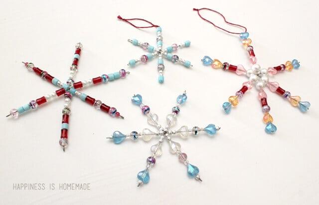 Beaded Snowflake Ornaments - Kids Christmas Craft