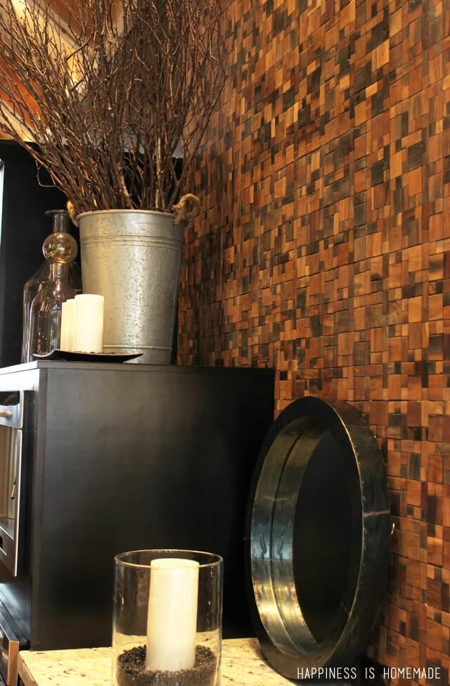 Reclaimed Wood Tile Backsplash at the 2014 HGTV Dream Home