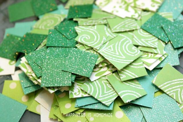 Green Paper Mosaic Squares
