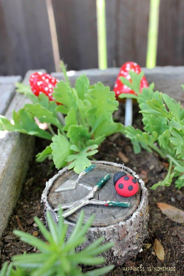 Polymer Clay Ladybug in the Fairy Garden
