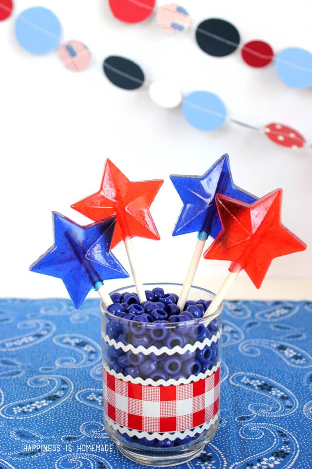 Make Your Own 4th of July Red White and Blue Star Shaped Lollipops