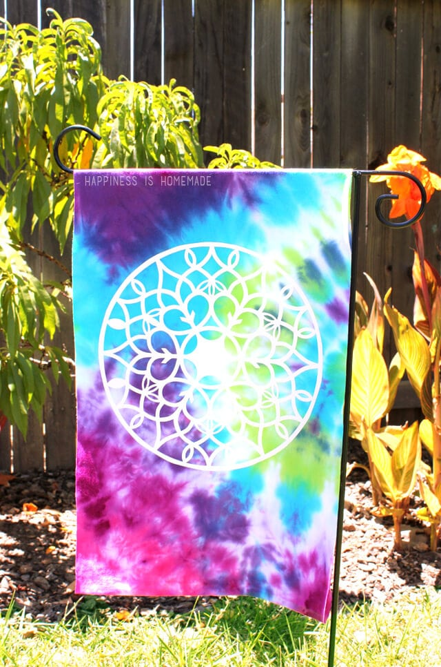 Upcycled Tie Dye T Shirt Garden Flag