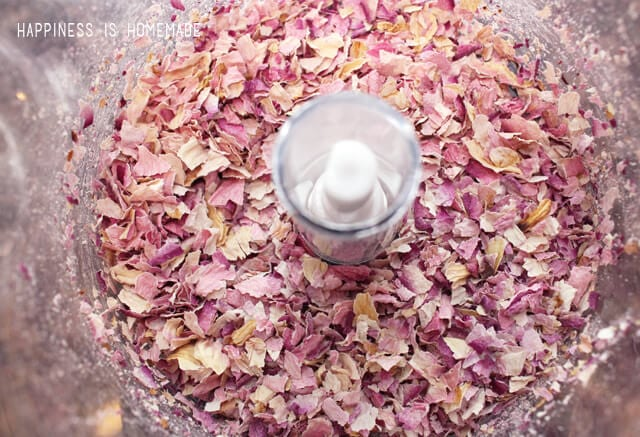 Dried Rose Petals in the Food Processor for Sugar Scrub