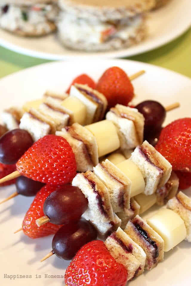 Peanut Butter and Jelly Sandwich Kabobs