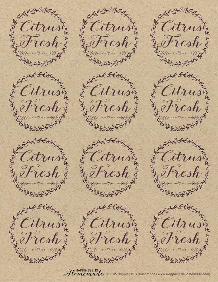 Citrus Fresh Candle Labels Sheet