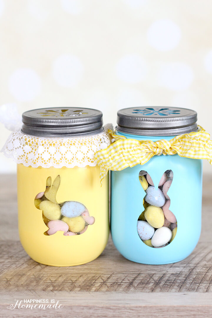 Easter Bunny Treat Jars - yellow and blue bunny mason jars filled with candy