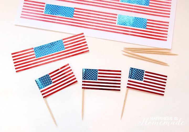DIY Foil USA Flag Cupcake Picks for 4th of July