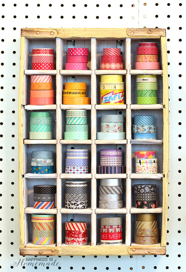 Turn an old vintage soda crate into a washi tape storage shelf