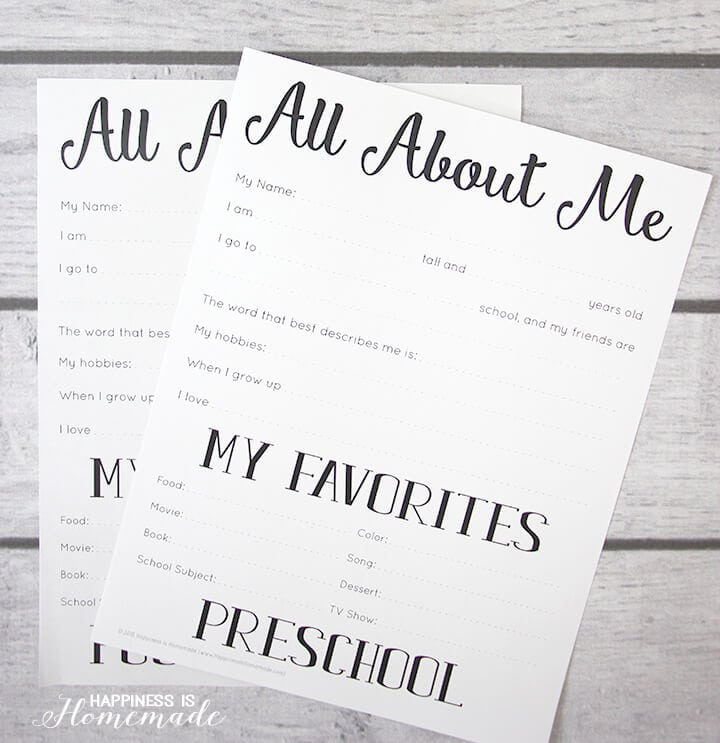 """All About Me\"" printables on a wood background"
