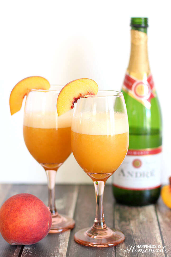 Frozen Blended Peach Bellini Cocktail with Andre Spumante Champagne Sparkling Wine