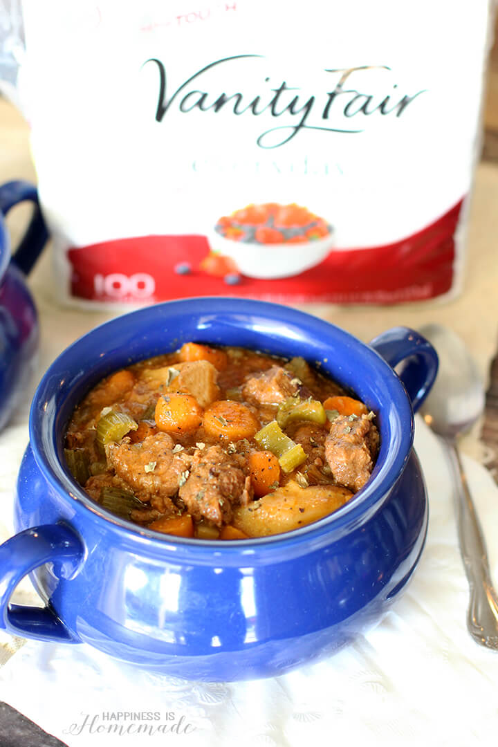Crockpot Beef Stew and Vanity Fair Napkins