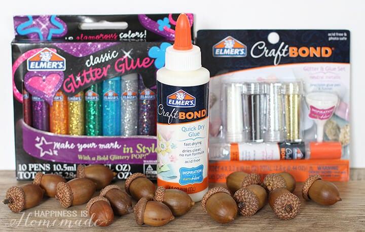 Supplies for Glittered Acorn Fall Specimen Artwork