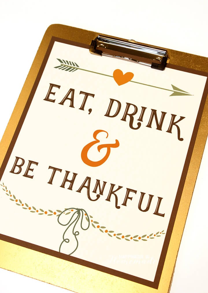 Eat Drink and Be Thankful Thanksgiving Gratitude Printable