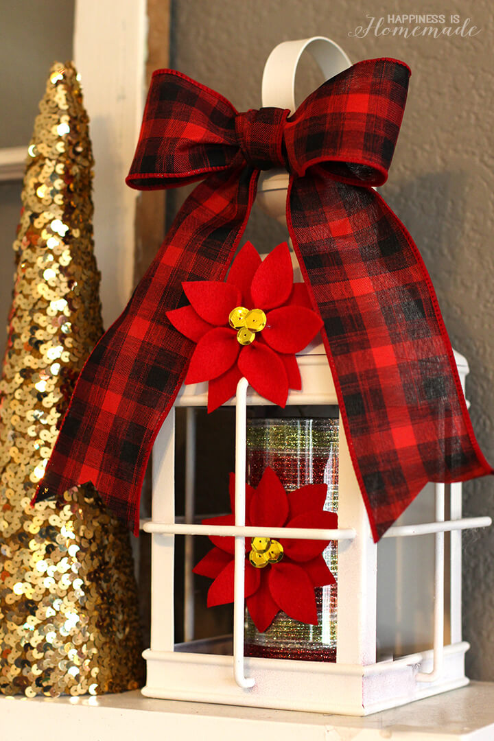 Felt Poinsettia Christmas Candles and Decorations