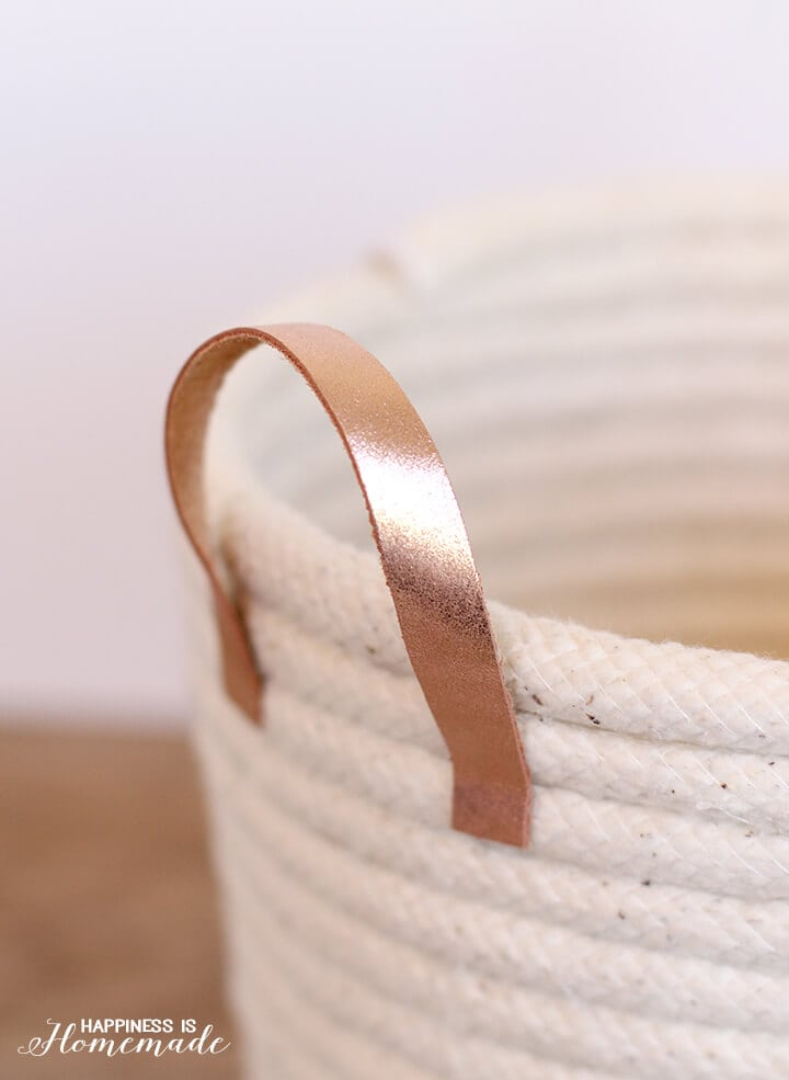Rose Gold Italian Leather Handles on a No-Sew Rope Basket