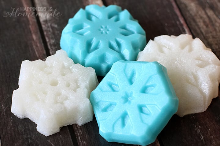 Shimmery and Glittery Snowflake Sugar Scrub Cubes