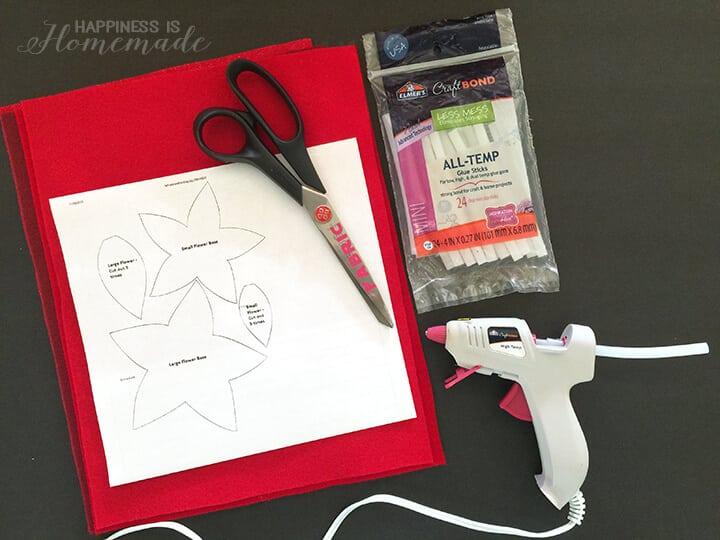 Supplies for Making Felt Poinsettia Flowers