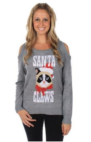 santa claws grumpy cat sweater