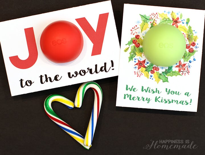 Christmas Printable Cards for EOS Lip Balm Gift Idea