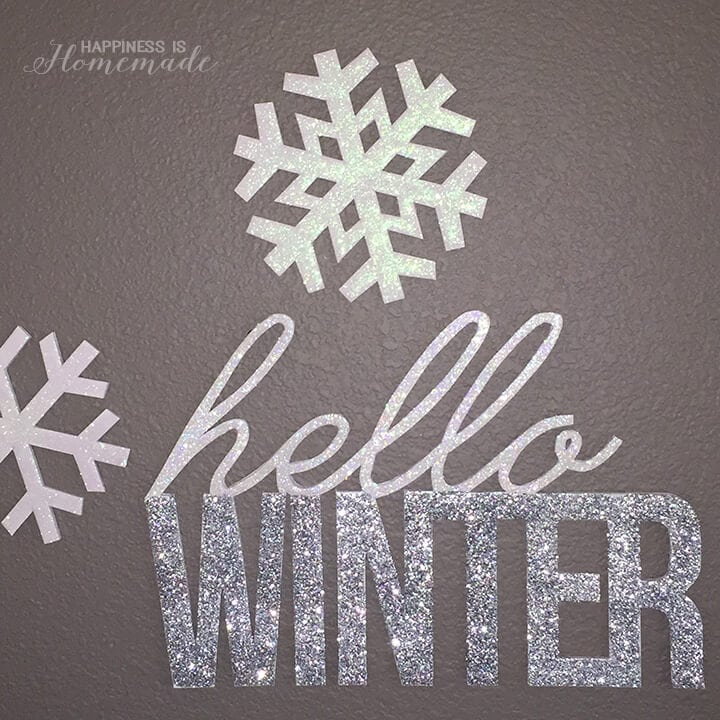 Glittered Snowflakes and Hello Winter Words from Foam Core