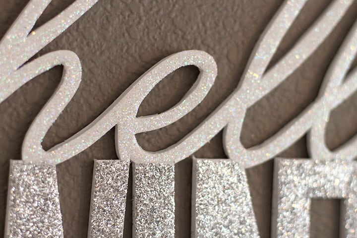 Glittery Wall Words Close Up