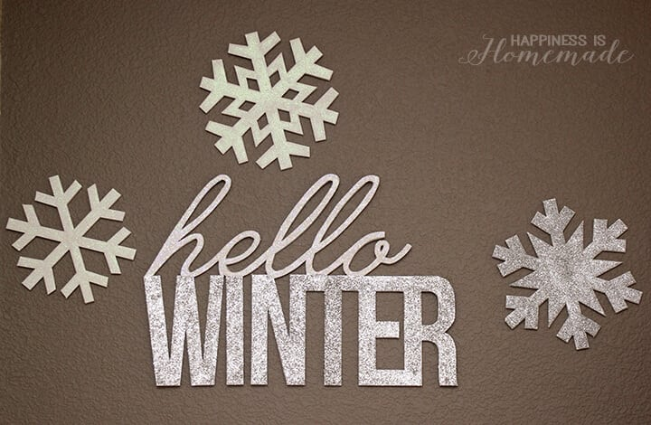 Hello Winter and Snowflakes Glittery Foam Core Wall Words