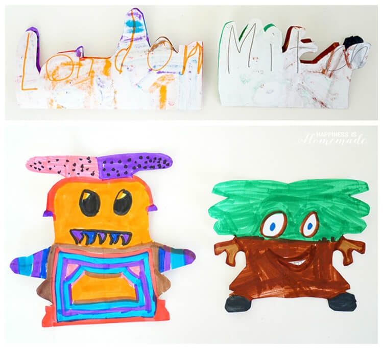 Art for Kids - Making Alien Creature Monsters from Student Names