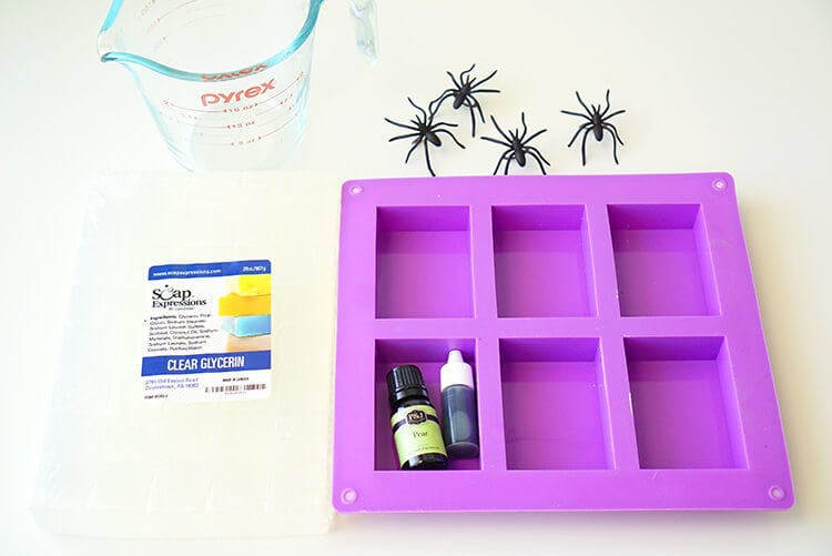 Supplies for Making Halloween Spider Soap