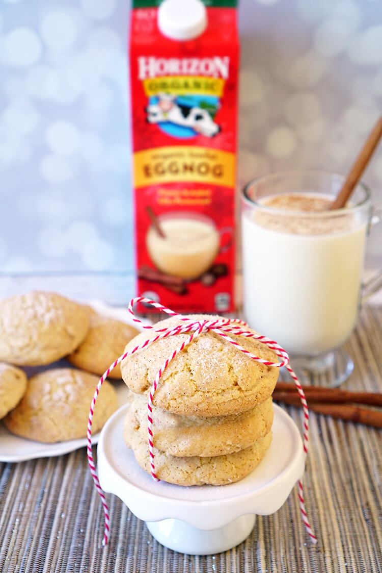 These delicious Eggnog Snickerdoodle Cookies are chewy on the outside, soft and fluffy on the inside, and sure to be a huge hit with your friends and family! They also make a great homemade Christmas gift idea that's perfect for friends, family, neighbors, and teachers!