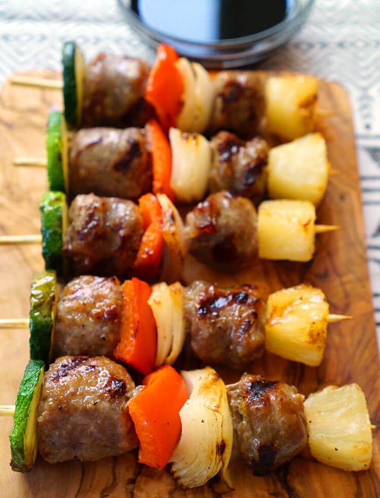Game Day Appetizer - Brat and Veggie Kabobs