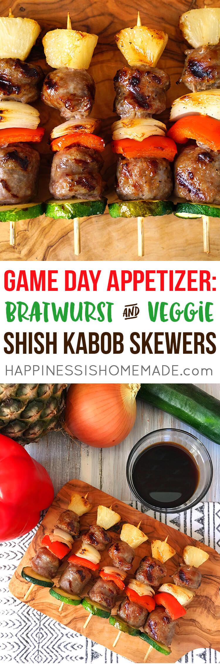 Game Day Appetizer - Bratwurst and Veggie Shish Kabob Skewers