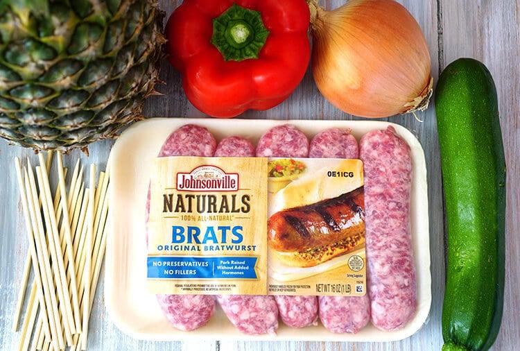 Ingredients for Johnsonville Brat and Veggie Skewers