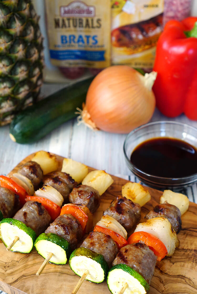 Johnsonville Brat and Veggie Mini Kabobs for the Big Game Day