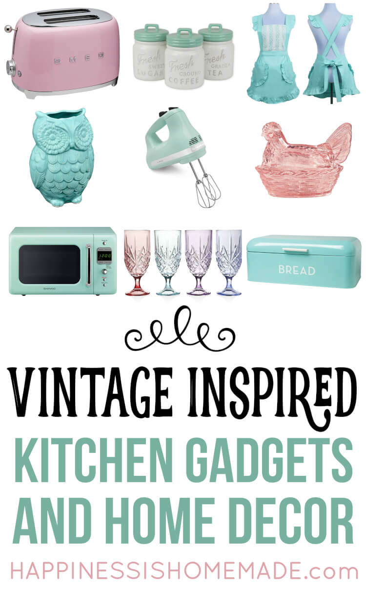 Nostalgic Vintage-Inspired Kitchen Decor and Gadgets that are perfect for your kitschy retro revival kitchen! These must-have appliances, gadgets, and decor are all based upon the vintage classics that you know and love!