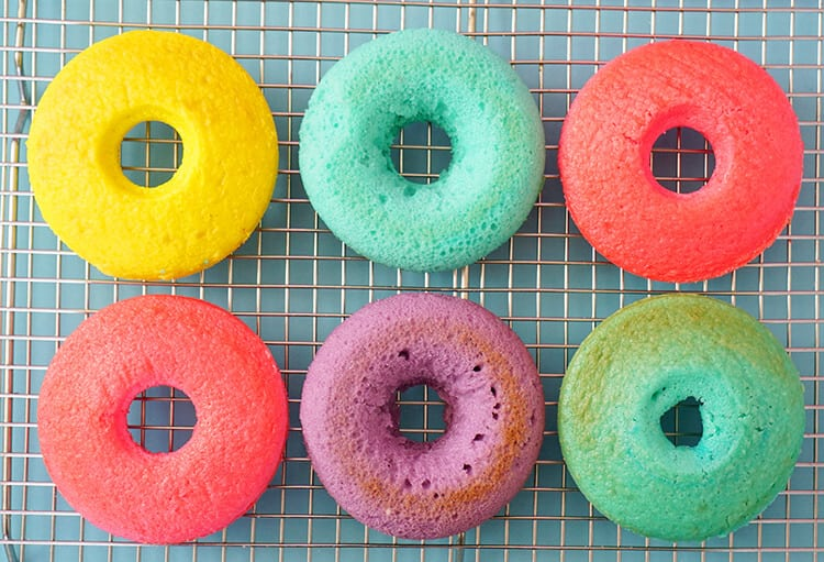 Colorful Baked Donuts Cooling