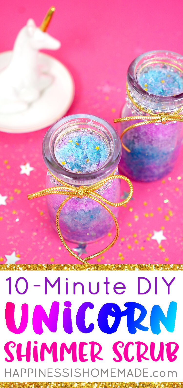 Whip up a batch of DIY Unicorn Sugar Scrub in under 10 minutes with this quick and easy sugar scrub recipe! An awesome DIY homemade gift idea for friends, family, teachers, and more!