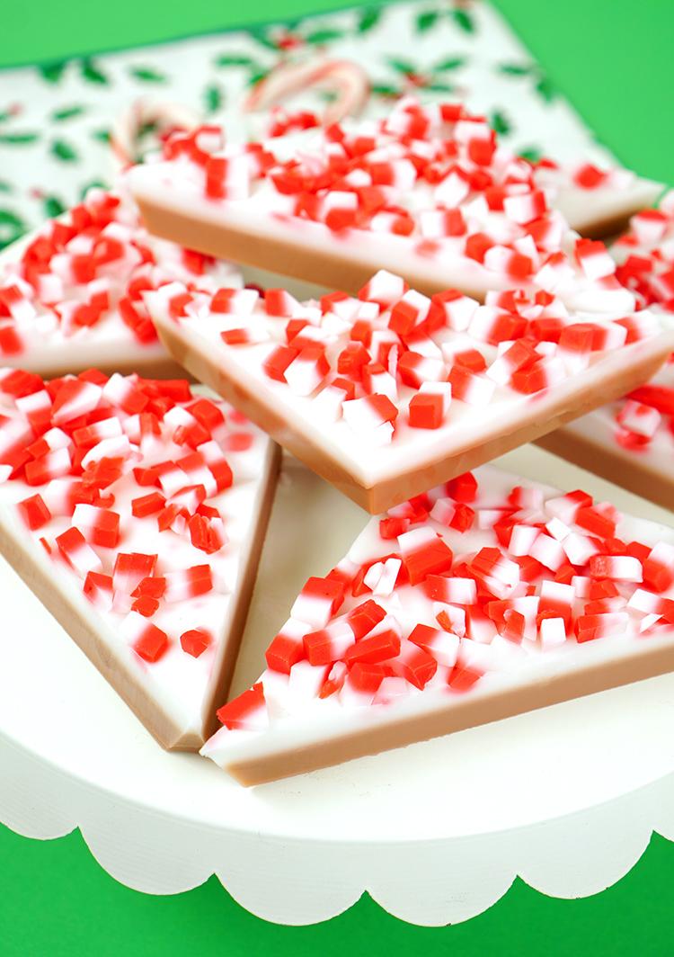 This DIY Peppermint Bark Soap is an easy, fun, and festive homemade Christmas gift idea!