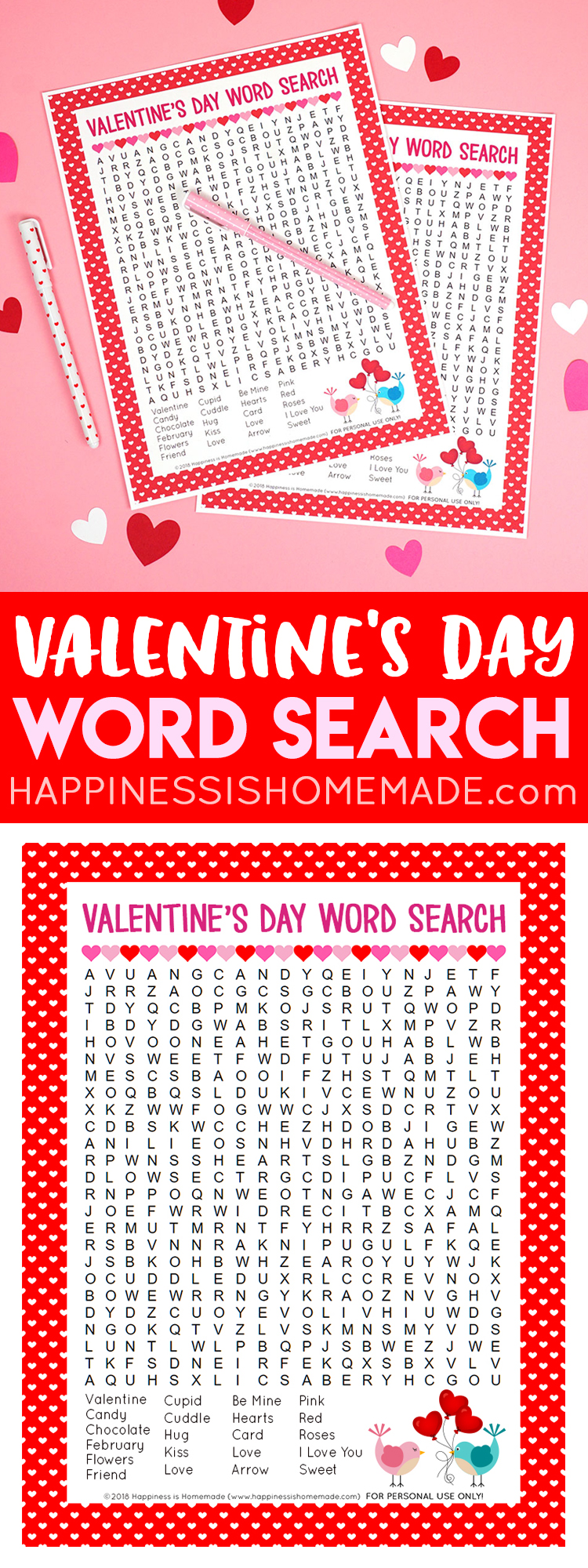 This sweet Valentine's Day Word Search printable puzzle is a ton of fun for kids of all ages! Perfect for teachers, families, classroom parents, Scout leaders, and more! Kids and adults alike will love this printable Valentine's Word Search!