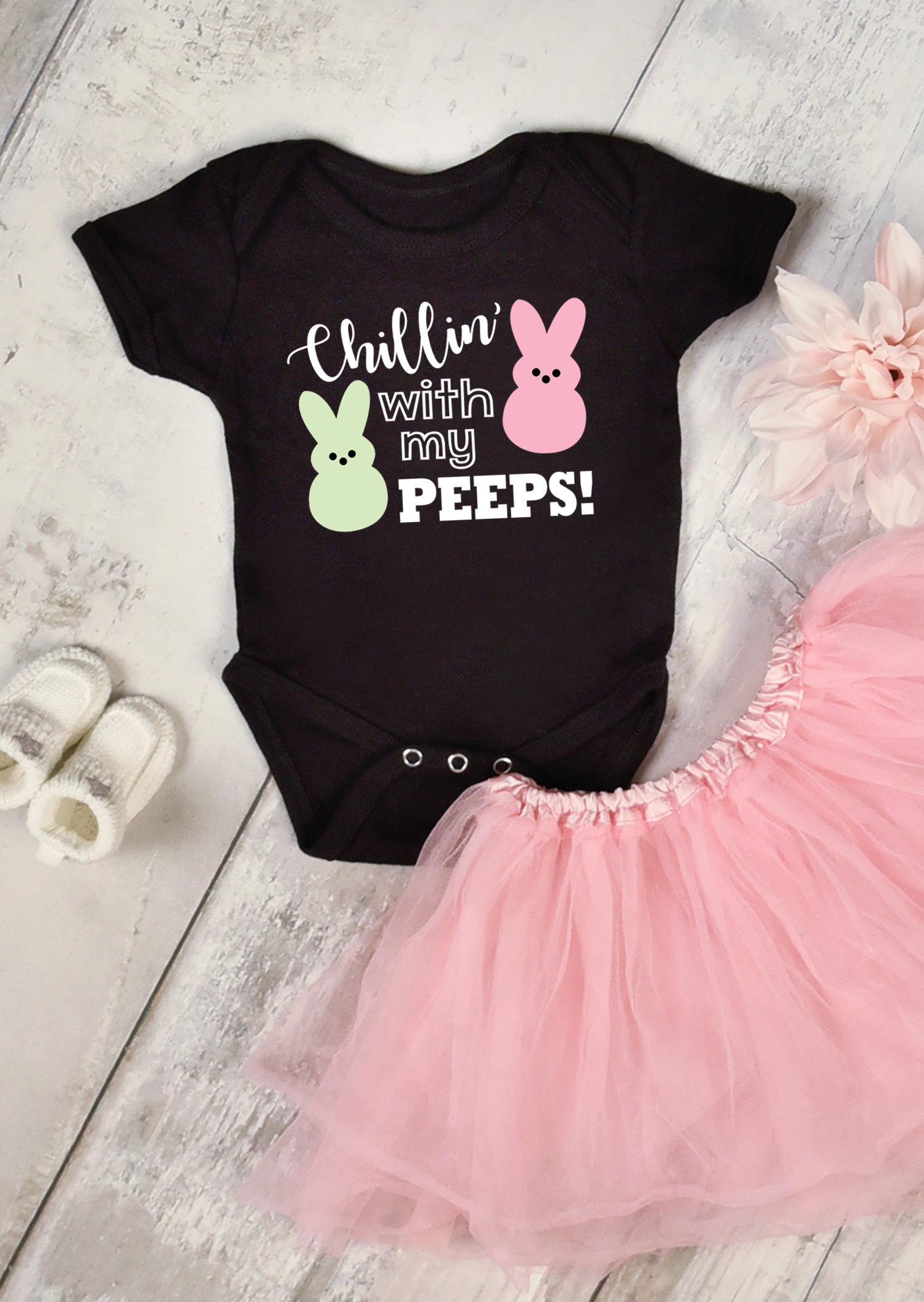 """Black baby onesie with """"Chillin' with My Peeps"""" design and pink tutu - Easter SVG file"""
