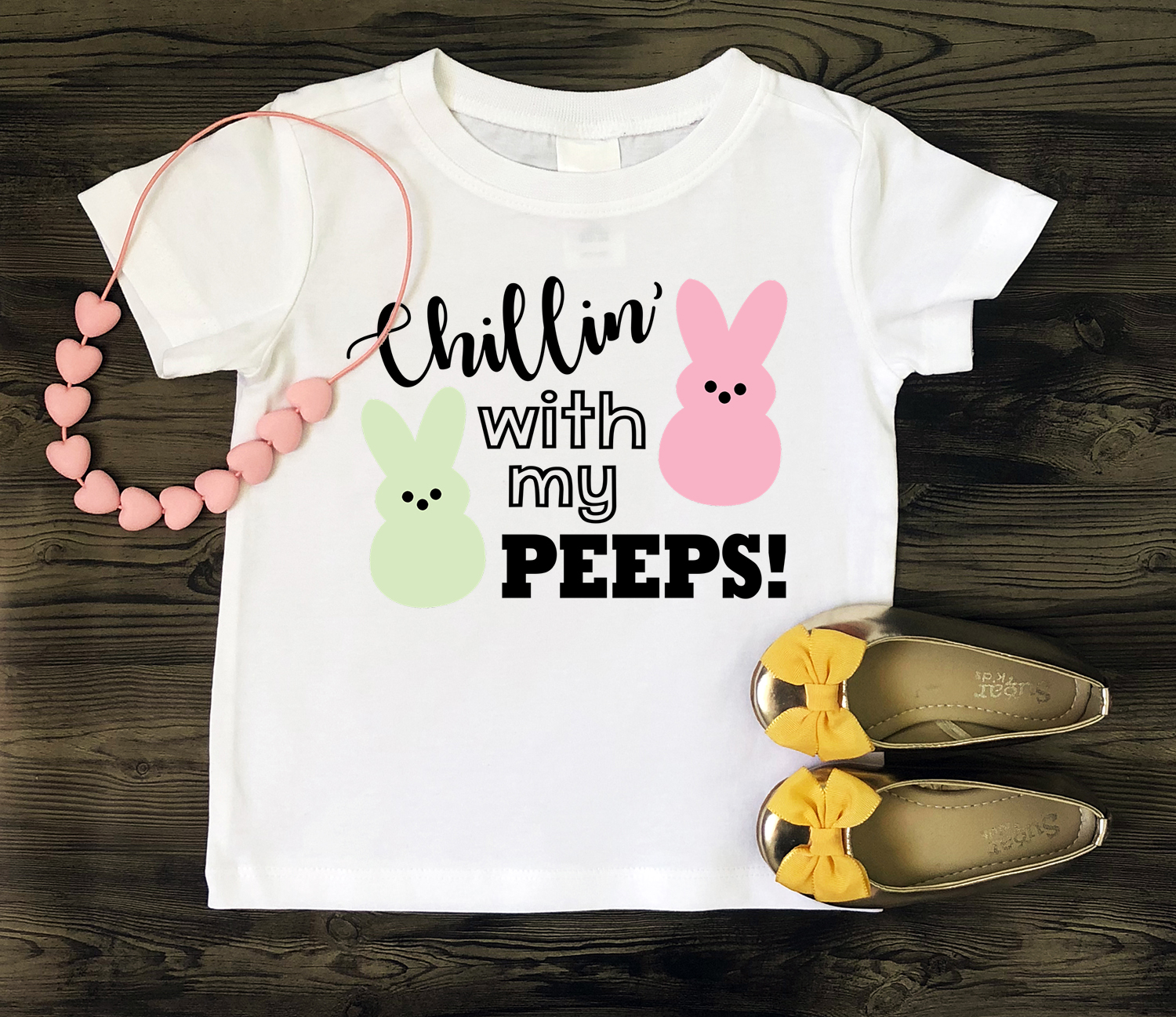"""White kids t-shirt with """"Chillin' with My Peeps"""" design - Easter SVG file"""