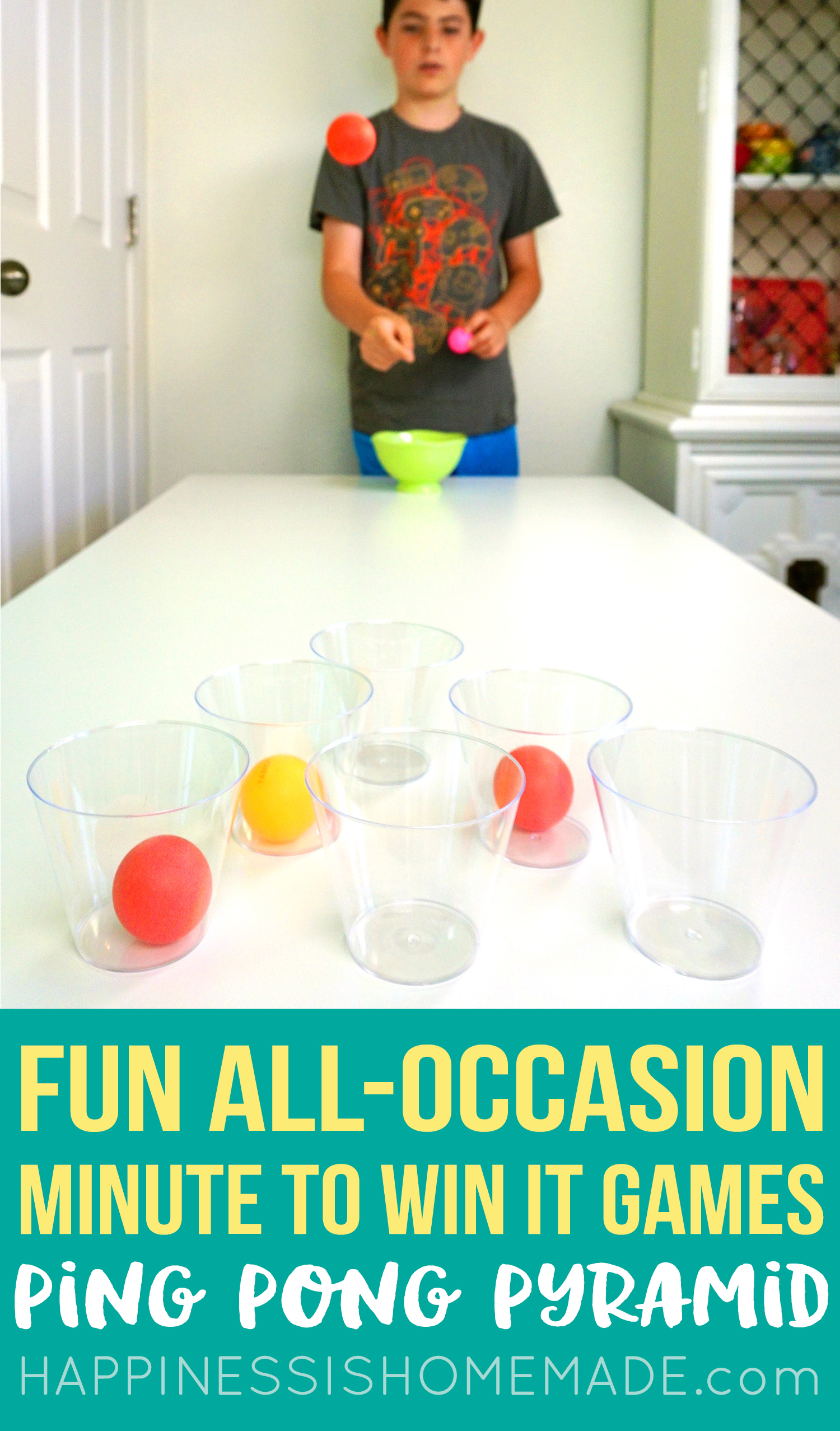 Minute to Win It Game - Ping Pong Pyramid - Throwing balls into cups