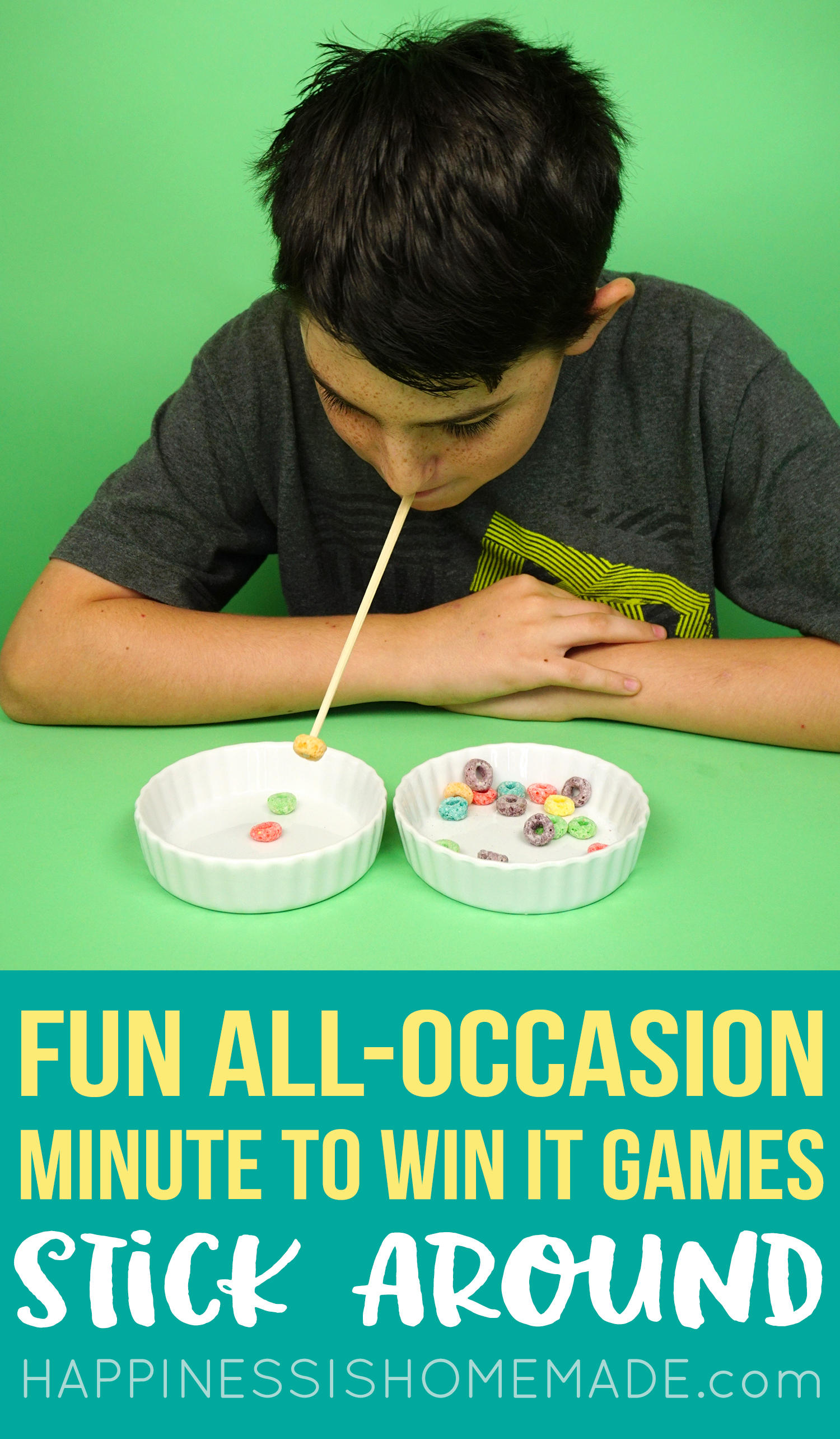 Minute to Win It Party Games - Stick Around - Chopsticks and Fruit Loops