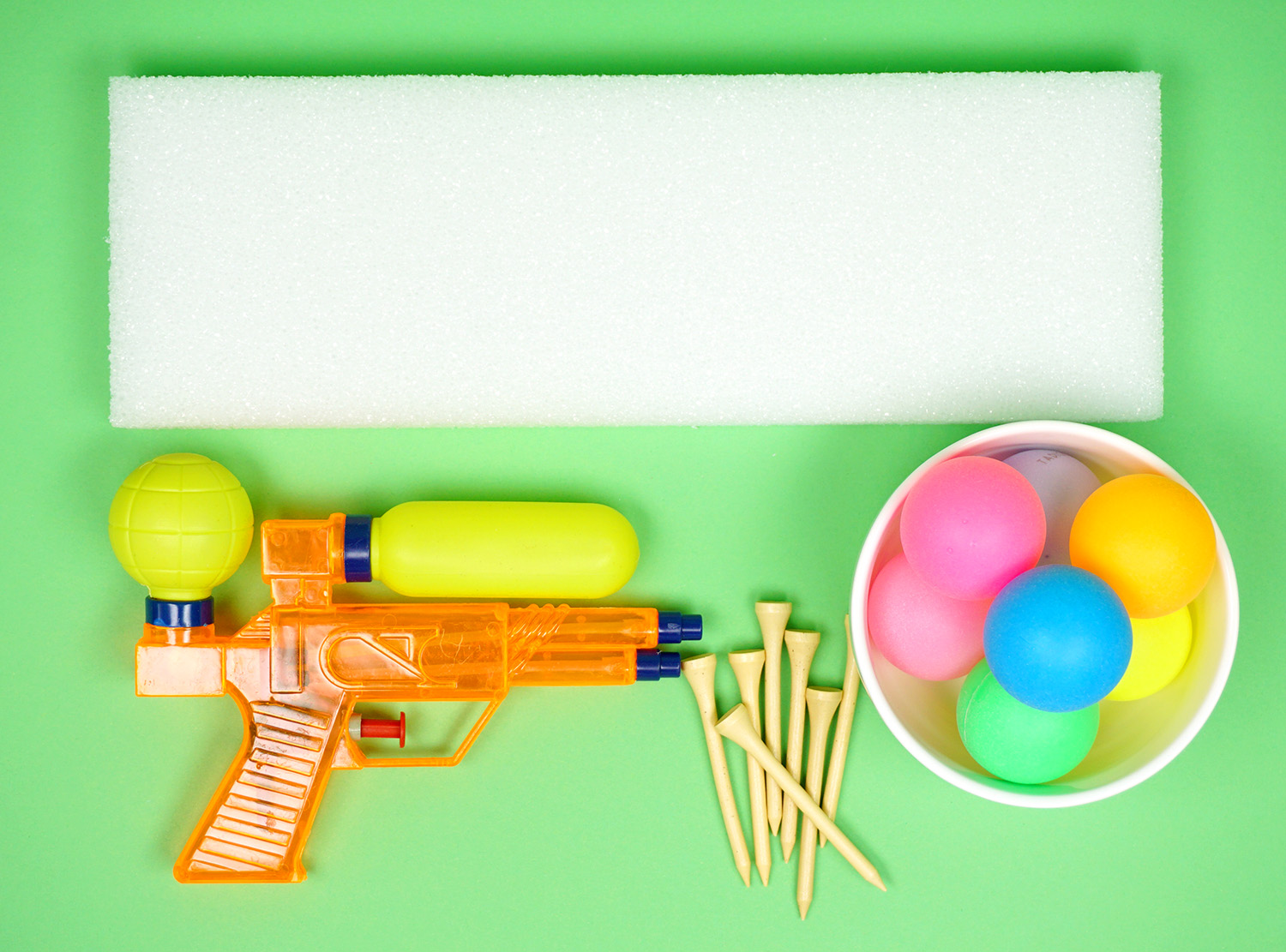 Minute to Win It Game Supplies - Squirt Guns, Ping Pong Balls, and Golf Tees