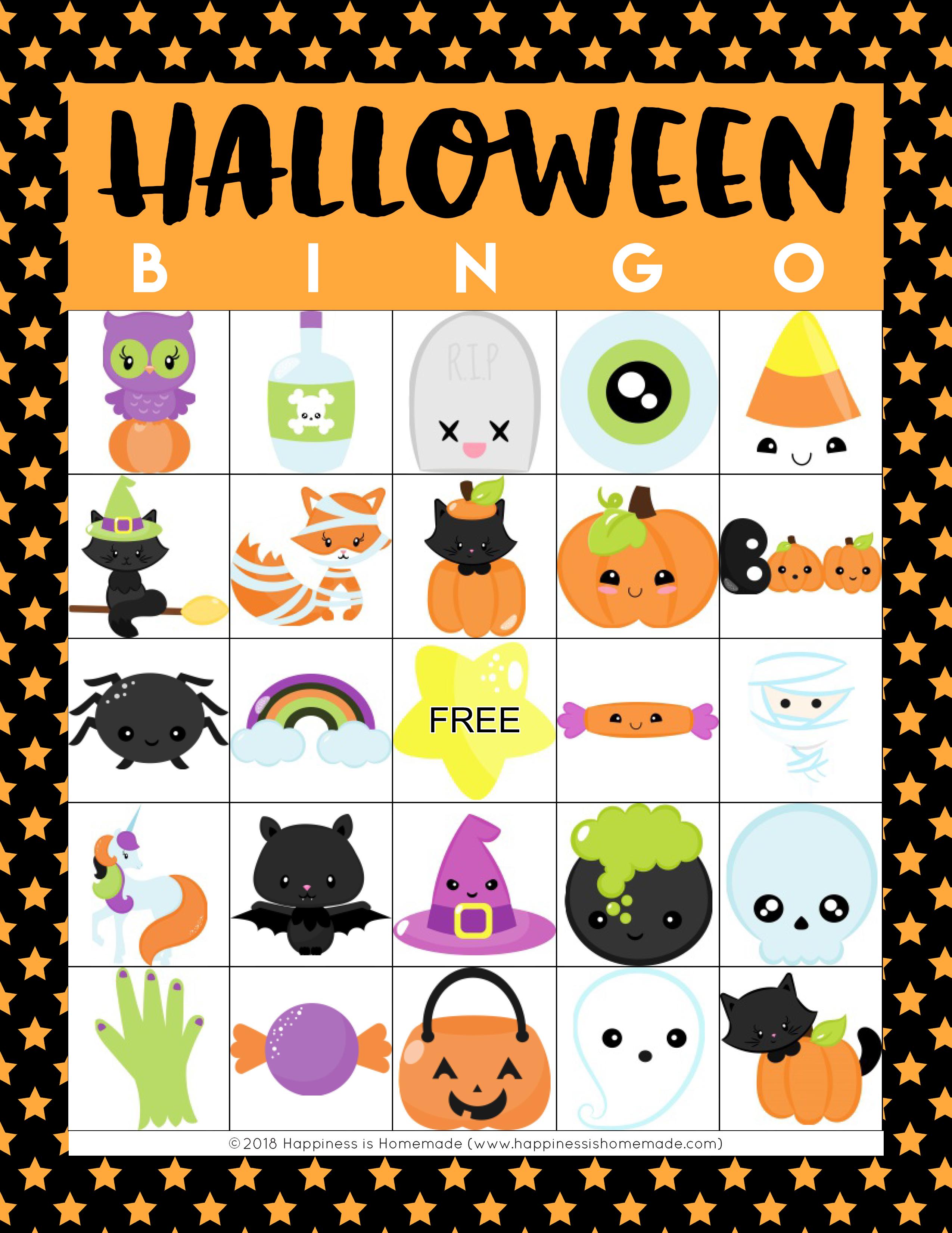 Free Printable Halloween Bingo Cards With Pictures.Printable Halloween Bingo Game Cards Happiness Is Homemade