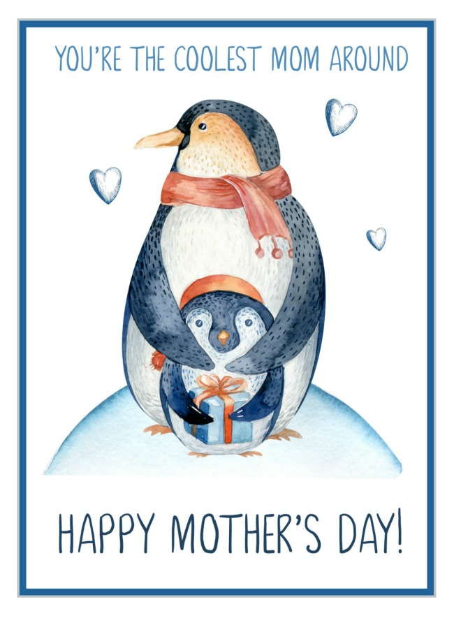 Cute Penguin Happy Mothers Day CardTo the Coolest Mom