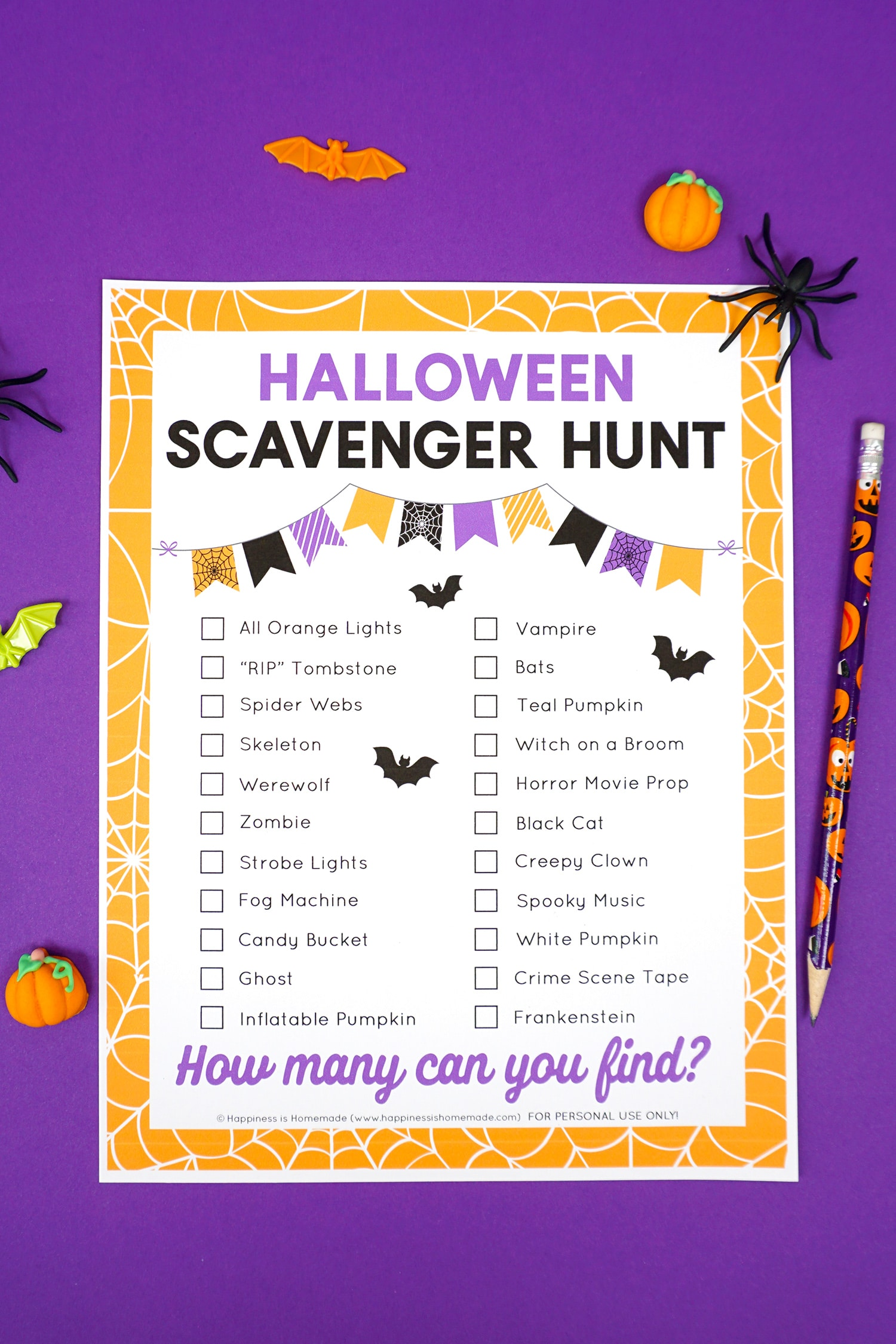 Halloween scavenger hunt printable on a purple background with Halloween pencil and novelty toys