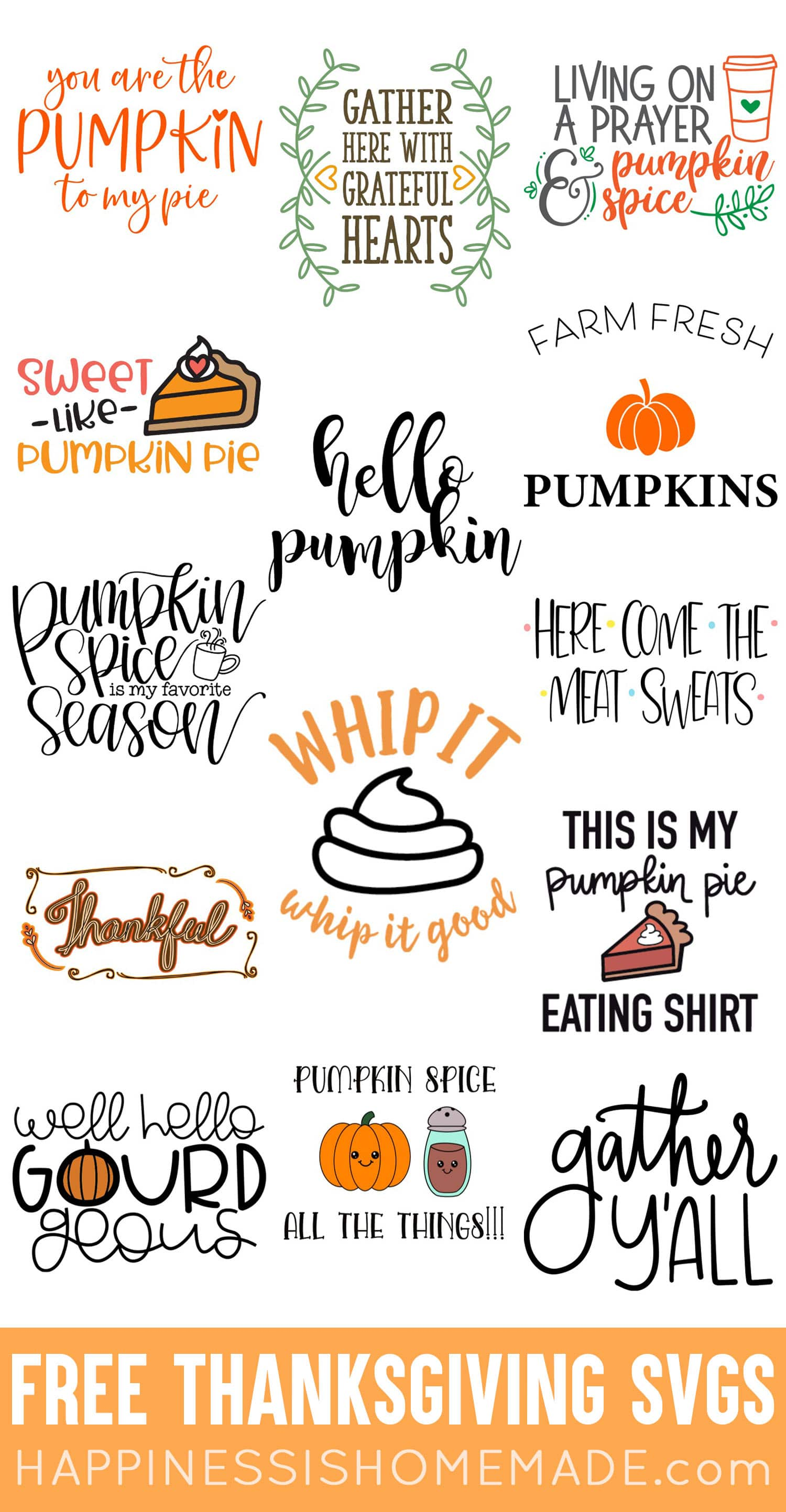 Free Thanksgiving Svg : thanksgiving, Thanksgiving, Files, Happiness, Homemade